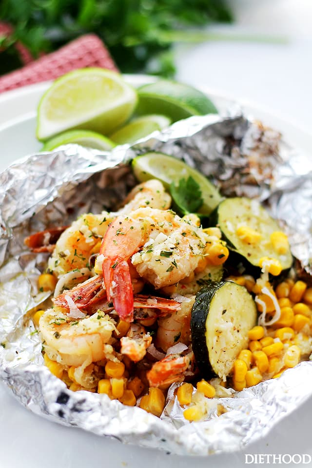 Grilled Coconut Lime Shrimp and Summer Veggies in Foil