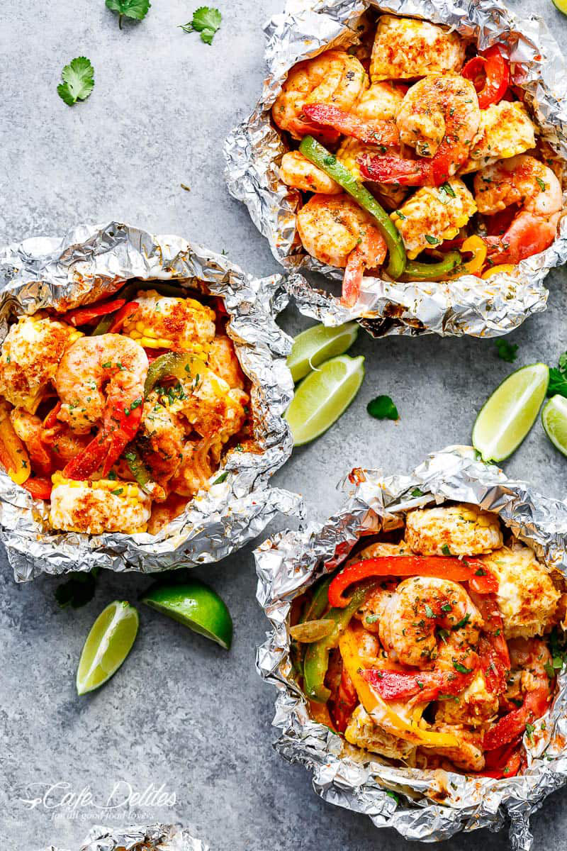 Shrimp and Mexican Corn Foil Packets