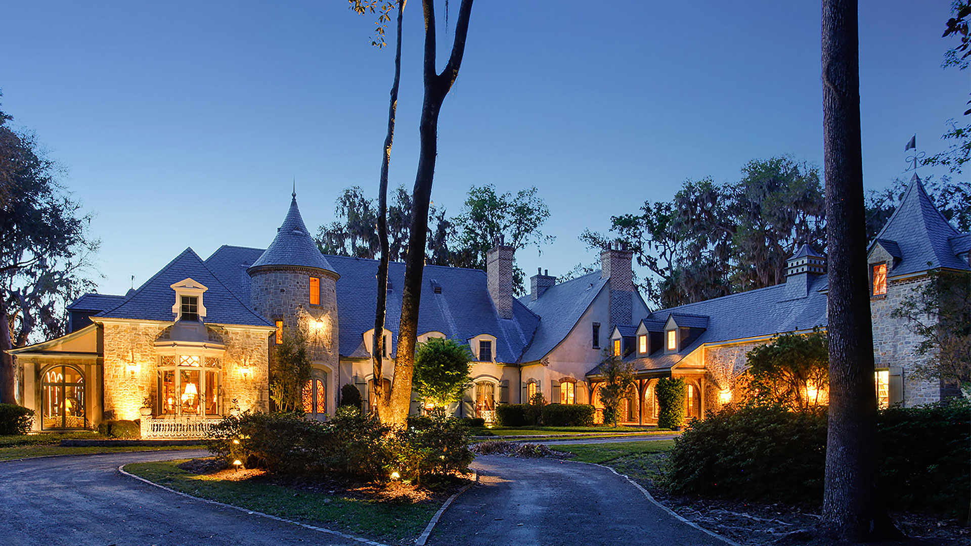 Colleton River Club French Chateau Exterior Nighttime