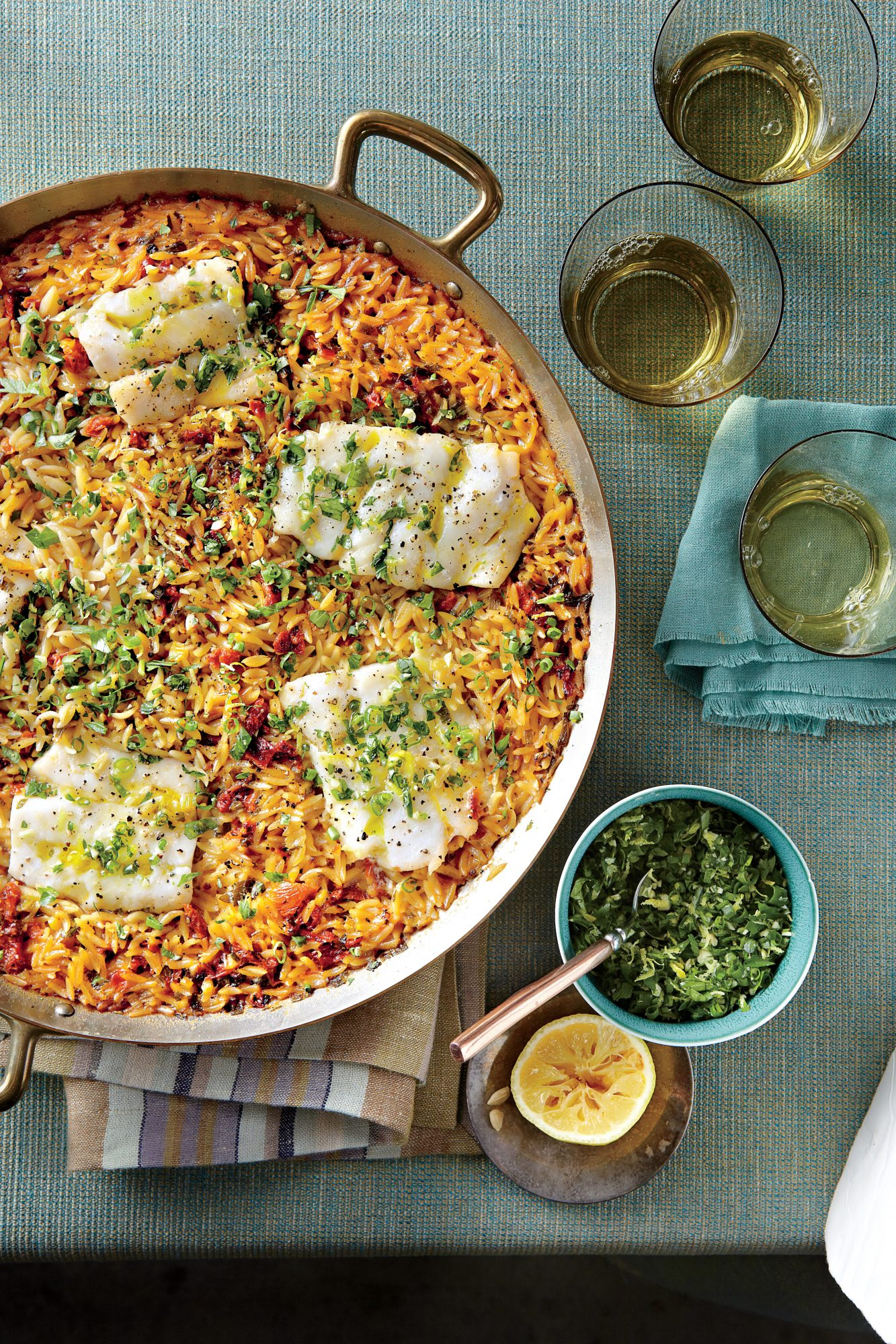 Skillet Orzo with Fish and Herbs Southern Living