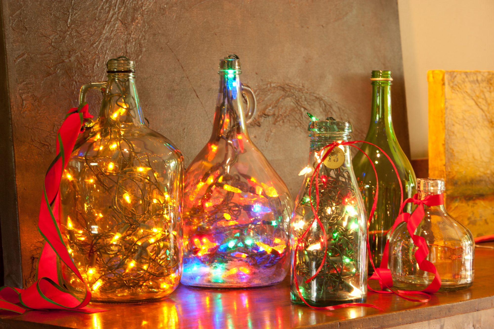 Twinkle Lights in Glass Jars