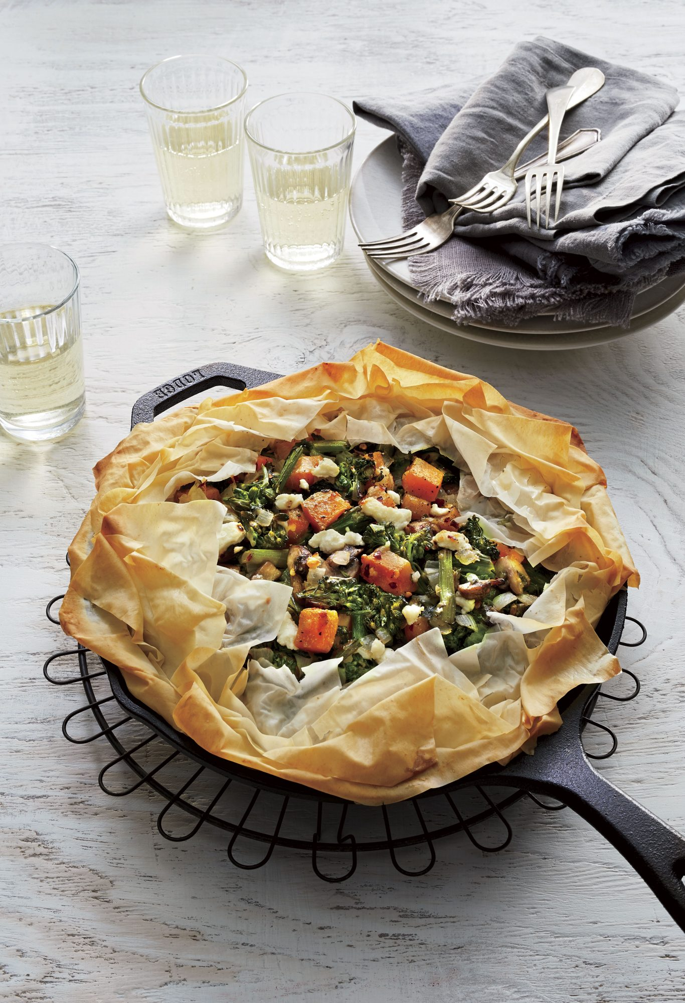 Skillet Vegetable Pie with Goat Cheese