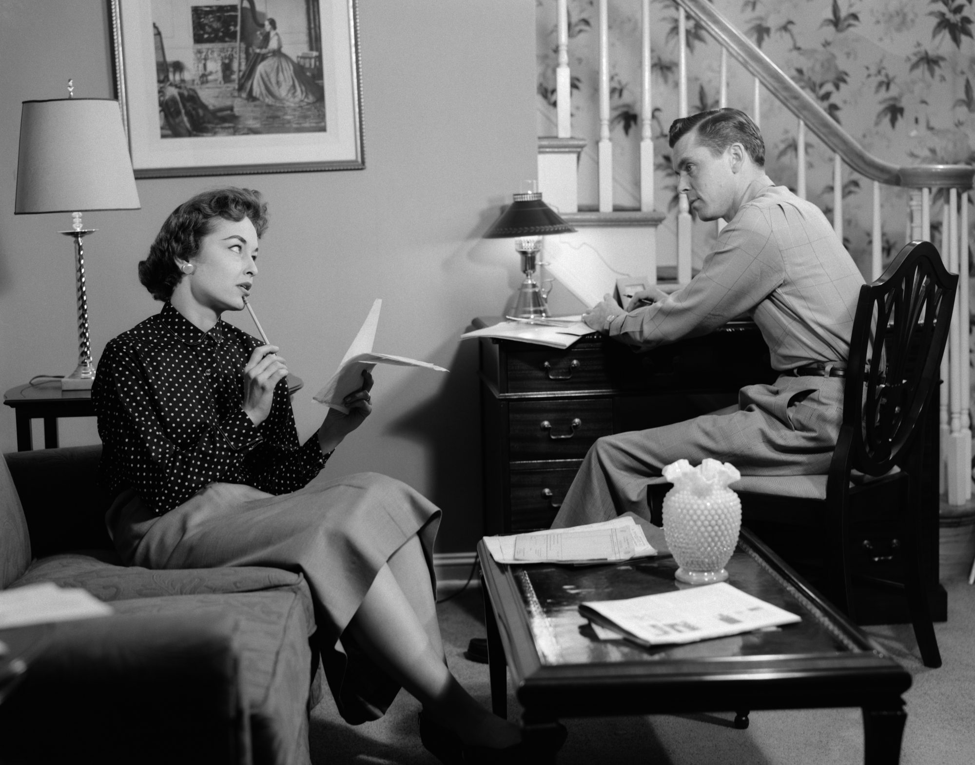 Couple Talking in Living Room 1950s