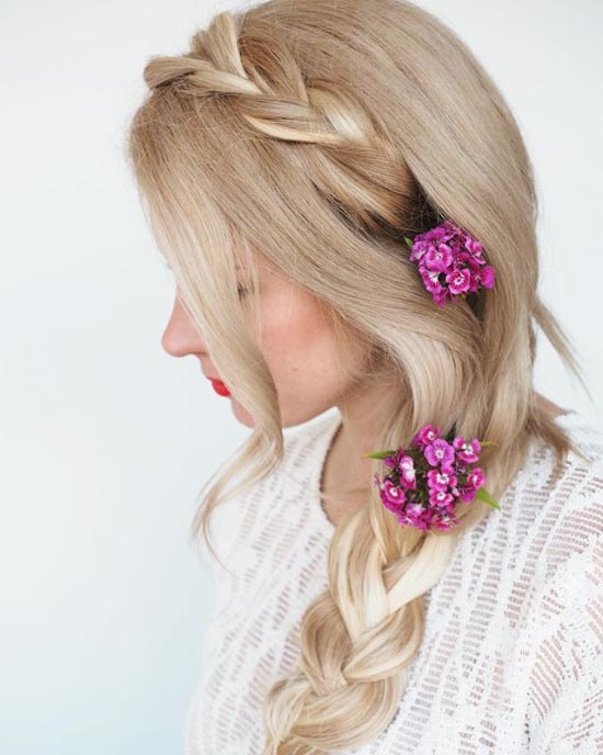 Floral Side Braid