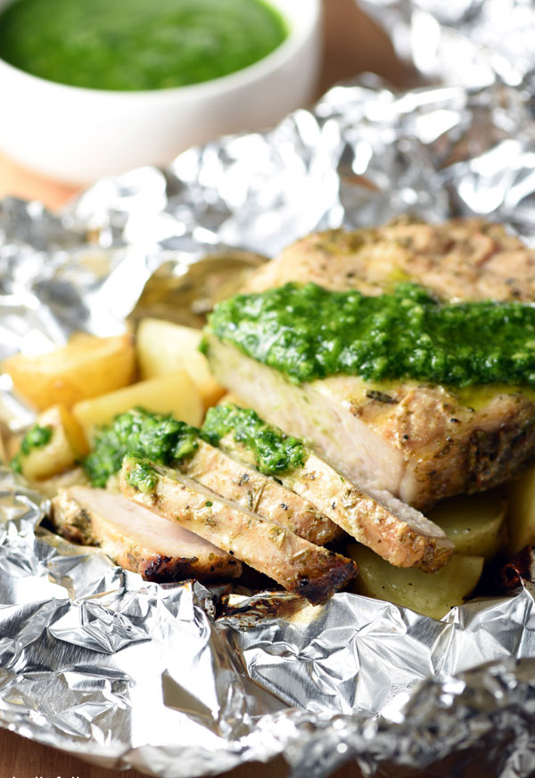 Grilled Pork Chops and Potatoes with Chimichurri Sauce Foil Packets