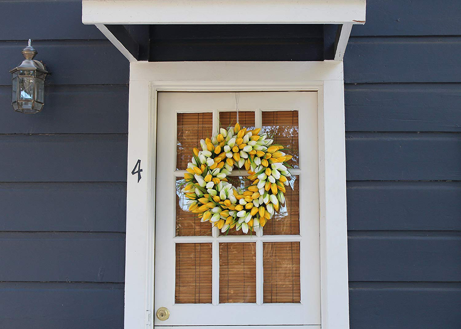 Yellow and White Tulip Wreath