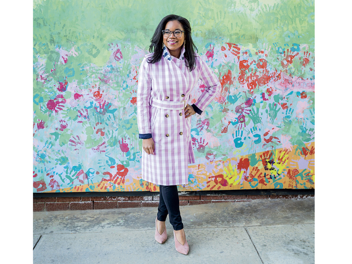 Niki McNeill in Gingham Tench Coat