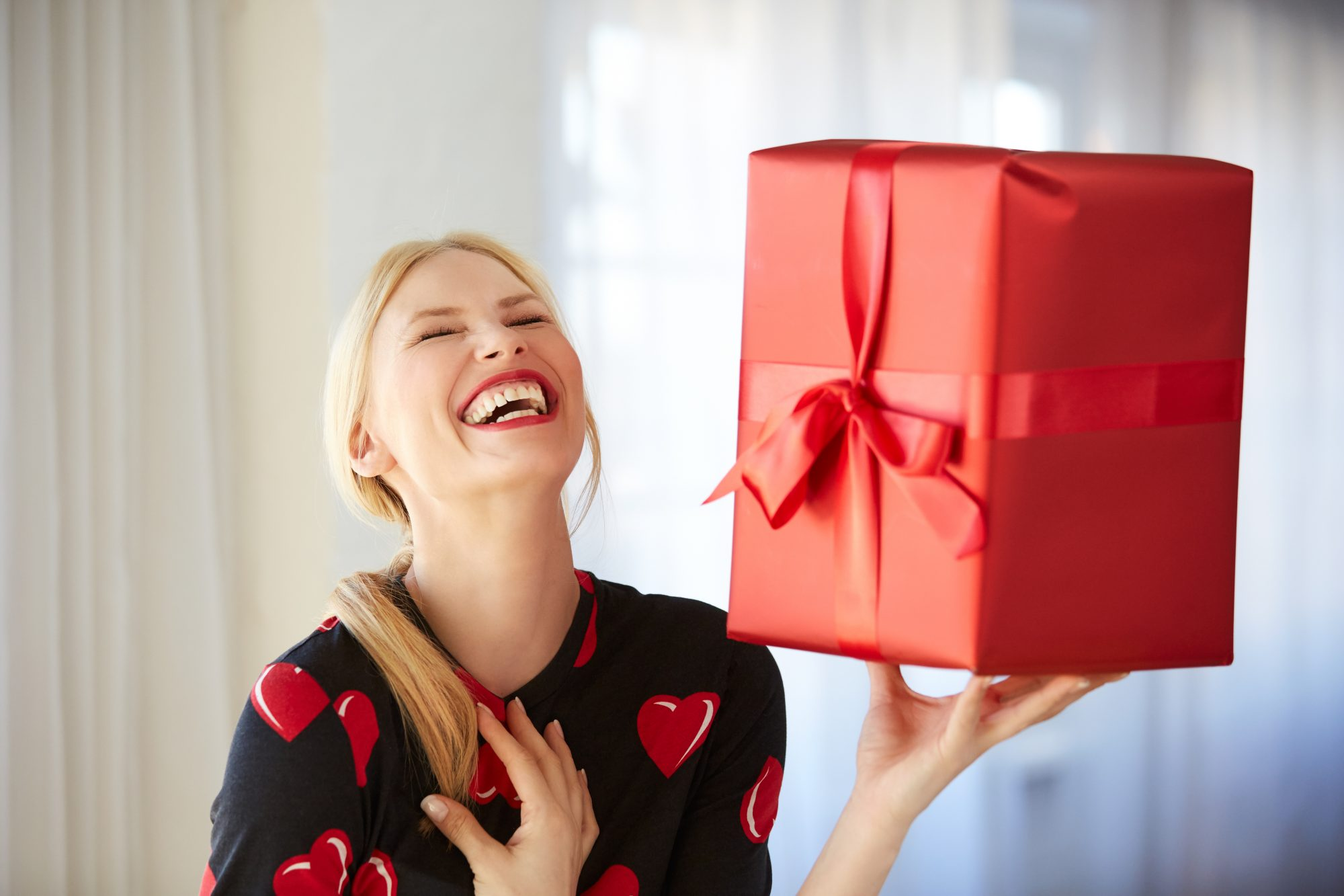 Woman with Wrapped Gift