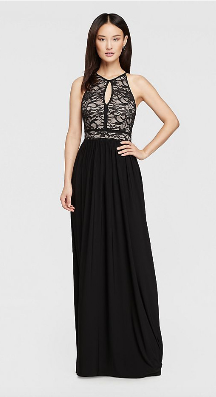 Lace Keyhole Halter Dress