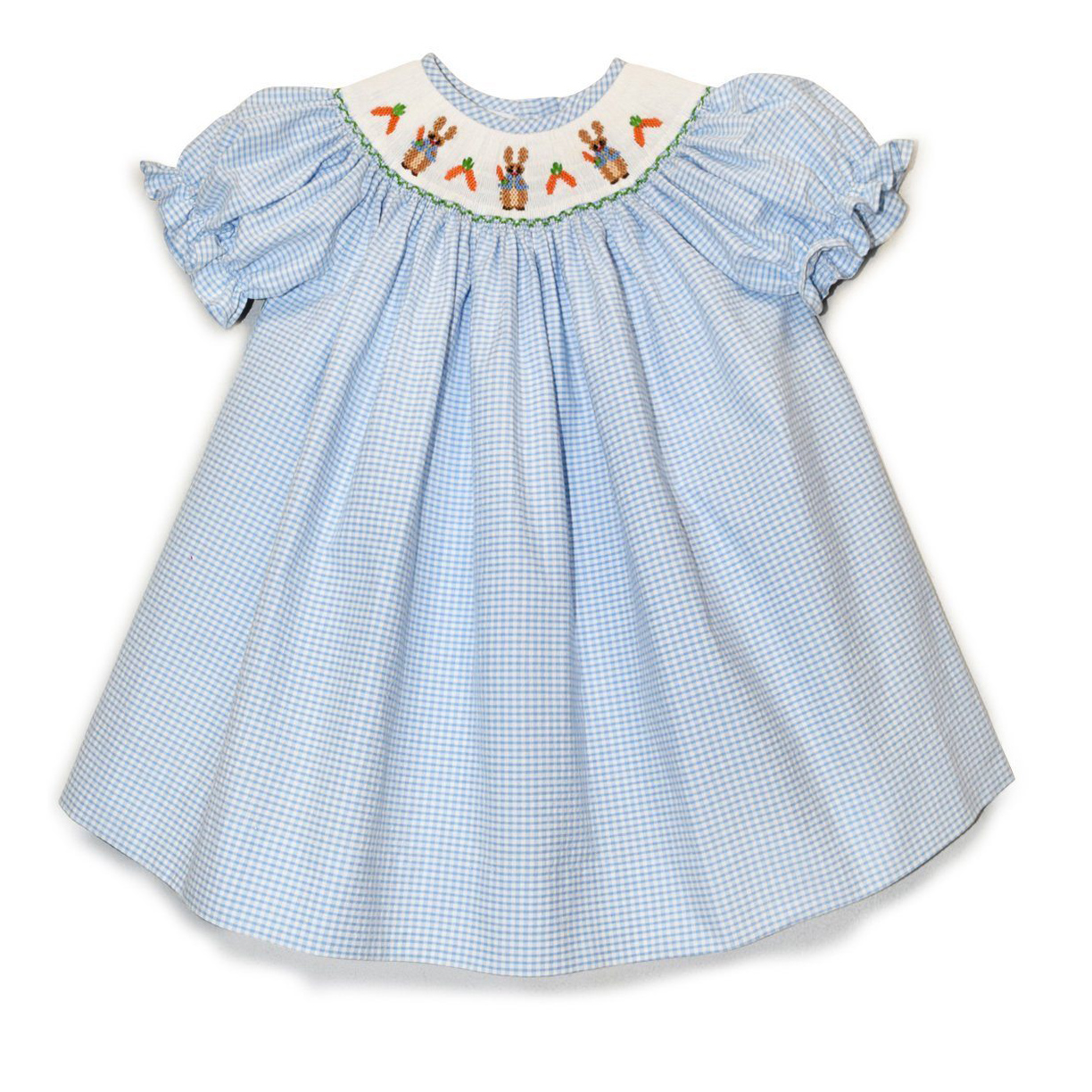 Storybook Rabbit Blue Gingham Bishop Dress