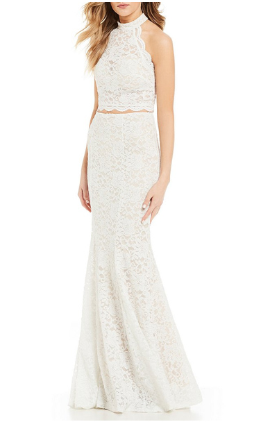 Lace Two-Piece Long Dress
