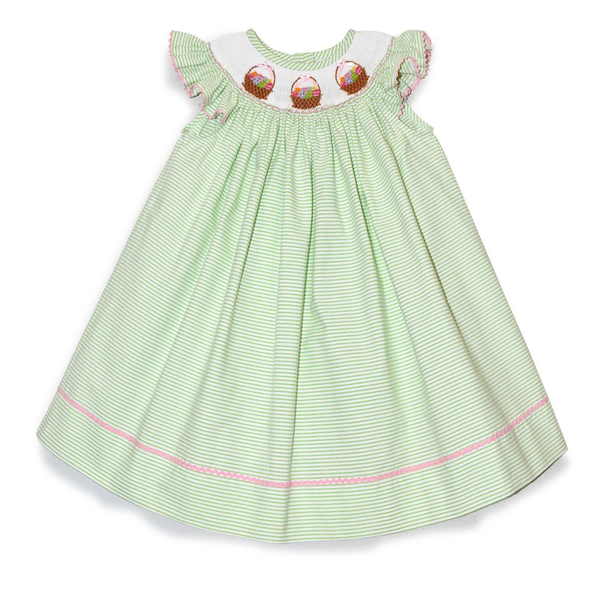 Easter Basket Light Green Stripe Bishop Dress