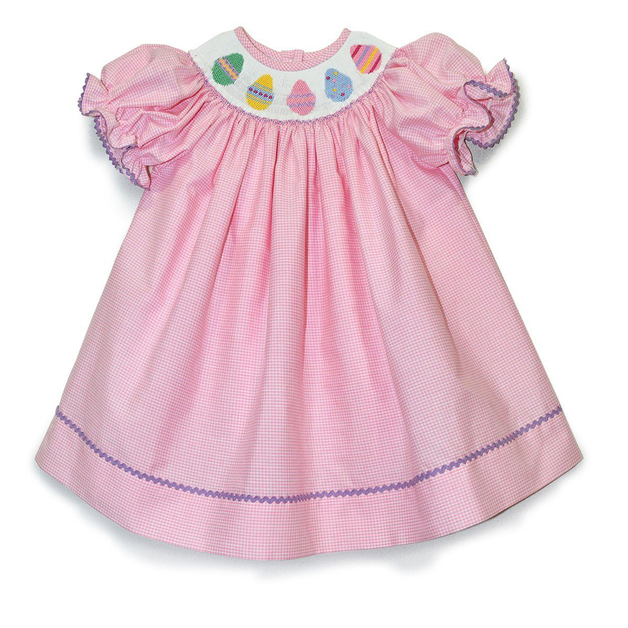 Easter Egg Pink Gingham Bishop Dress
