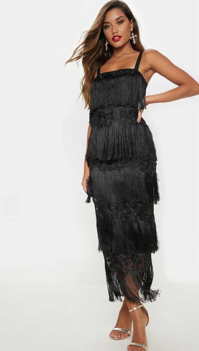 Black Tassel Midi Dress
