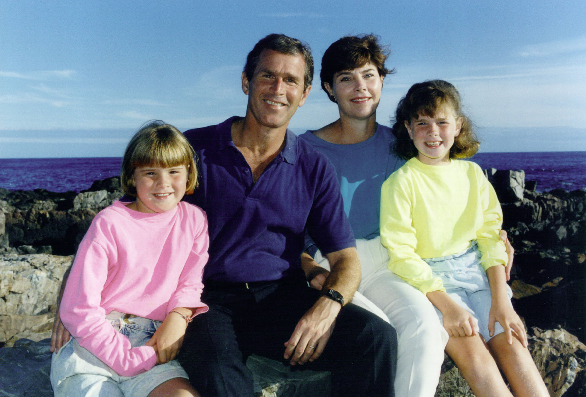 George, Laura, Jenna, and Barbara Bush 1987
