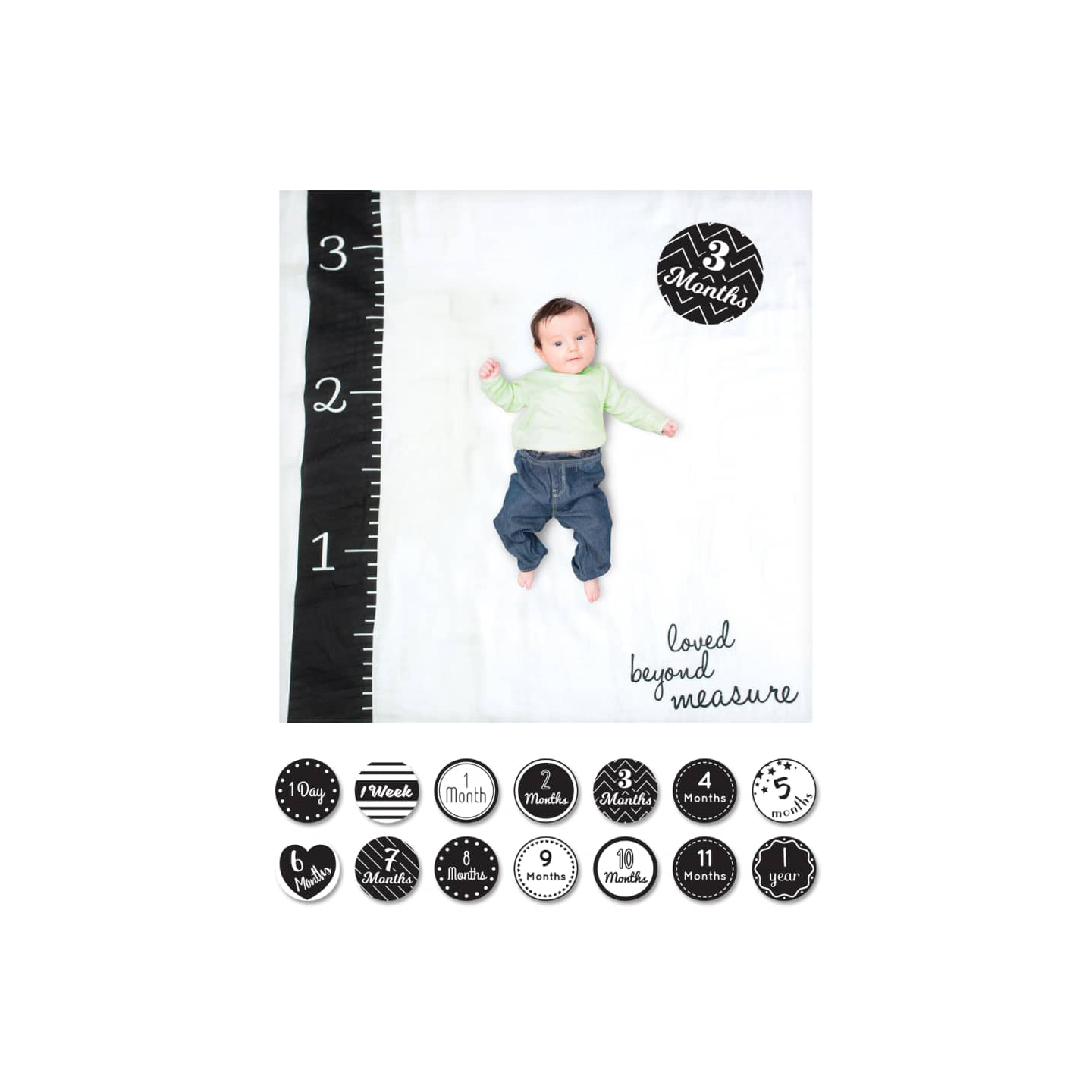 Lulujo Baby's First Year Loved Beyond Measure Muslin Blanket & Milestone Card Set