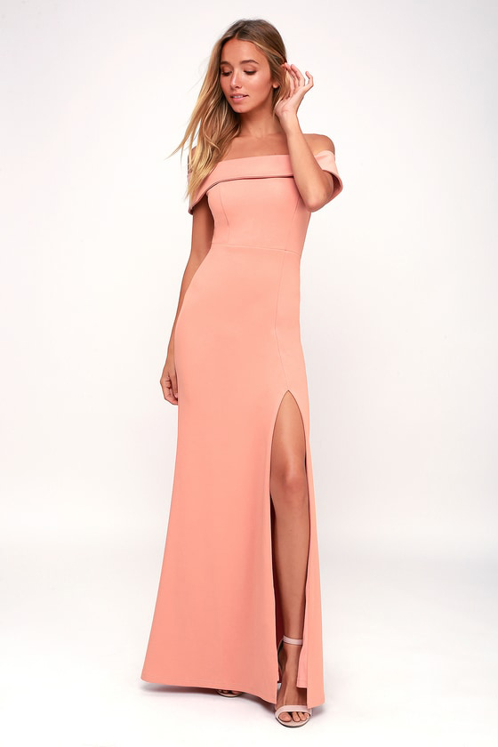 Mauve Pink Off-the-Shoulder Dress