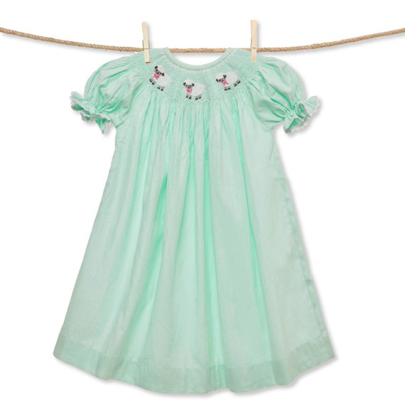 Mint Lamb Smocked Bishop Dress