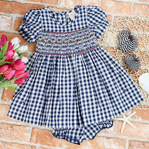 Navy Plaid Smocked Dress