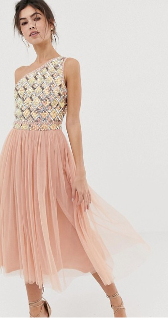Embellished Tulle Midi Dress