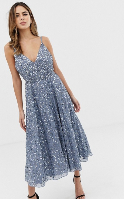 Delicate Sequin Midi Dress with Full Skirt