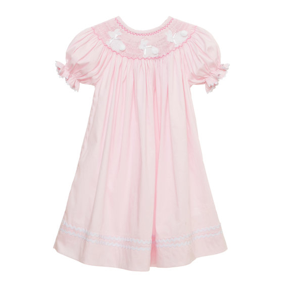 Pink Easter Bunny Smocked Bishop Dress