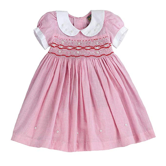 Pink Gingham Smocked Dress