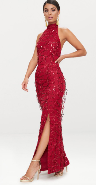 Burgundy Sequin Fishtail Dress