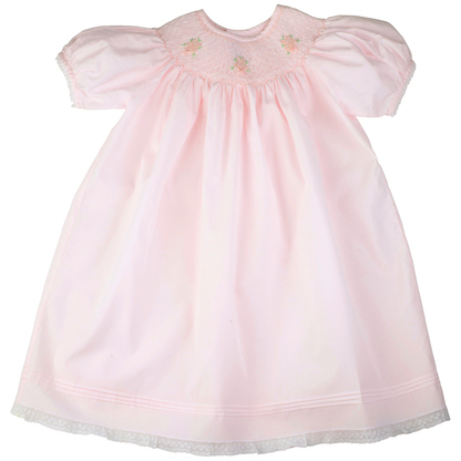Rose Bouquet Bishop Style Smocked Dress