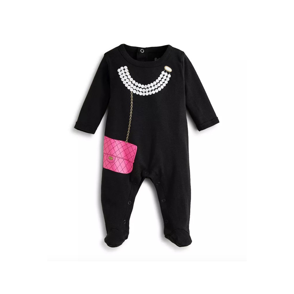 Sara Kety Girls' Pearl & Purse Footie