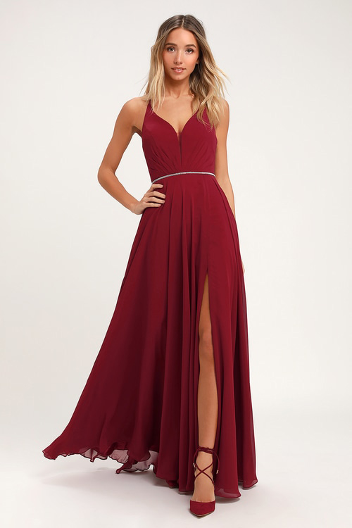Wine Red Lace-Up Dress