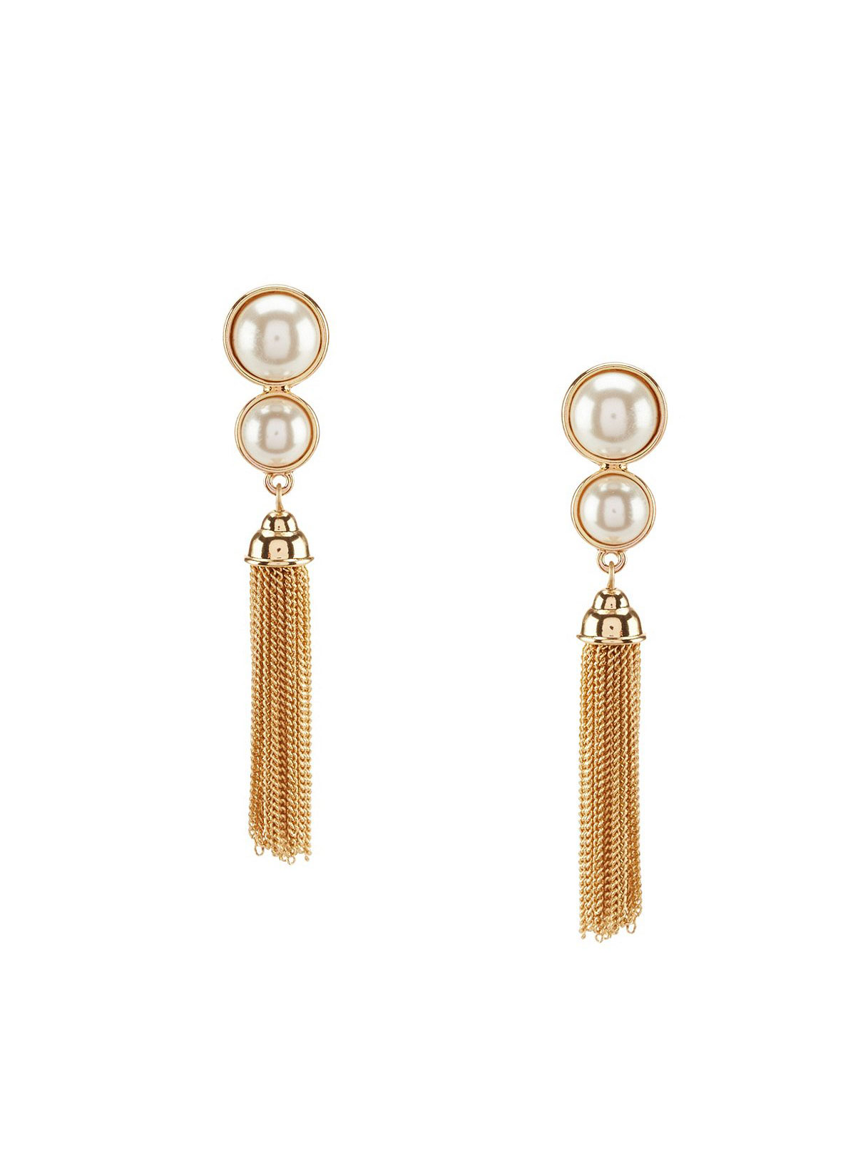 Anne Klein Chain-Tasseled Faux-Pearl Clip-On Drop Earrings