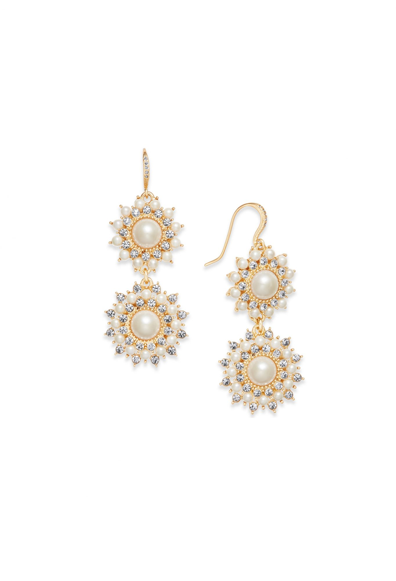 Charter Club Gold-Tone Imitation Pearl & Crystal Double Drop Earrings