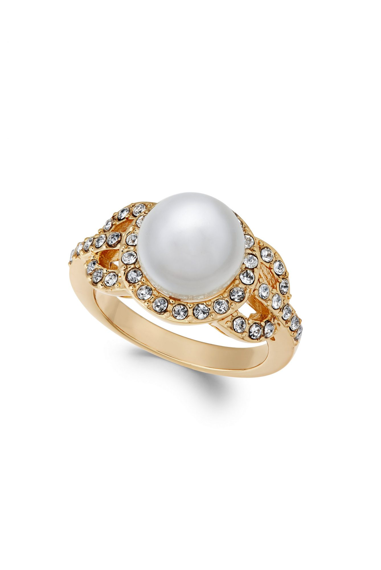 Charter Club Gold-Tone Pavé & Imitation Pearl Ring