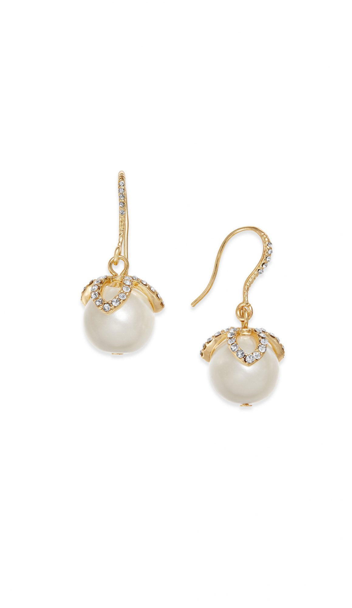Charter Club Gold-Tone Imitation Pearl & Pavé Drop Earrings