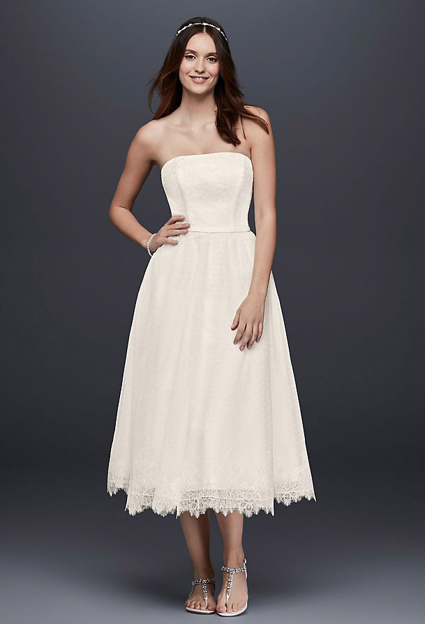 Dotted Tulle Tea-Length Wedding Dress with Lace