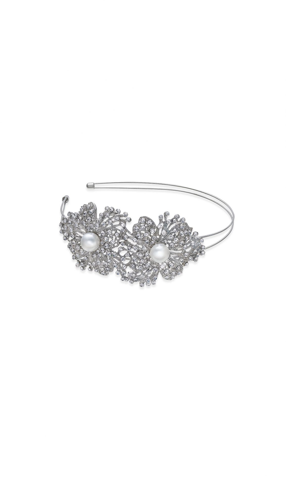 INC International Concepts Silver-Tone Imitation Pearl Crystal Flower Headband