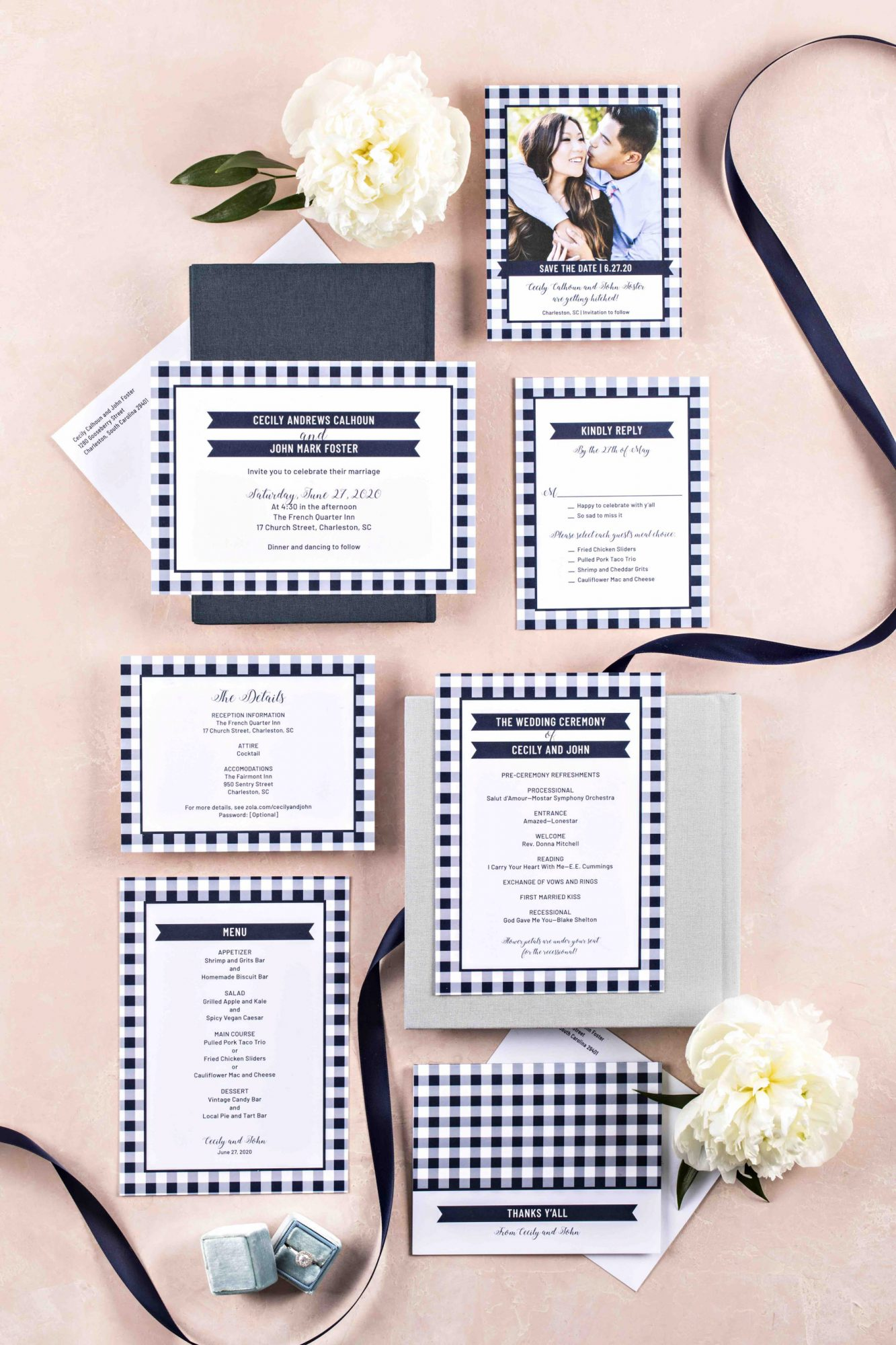 Reese Witherspoon's Draper James Launches Wedding Line with Zola — See the Brand New Collab! invites_draper_james_flatlay_01