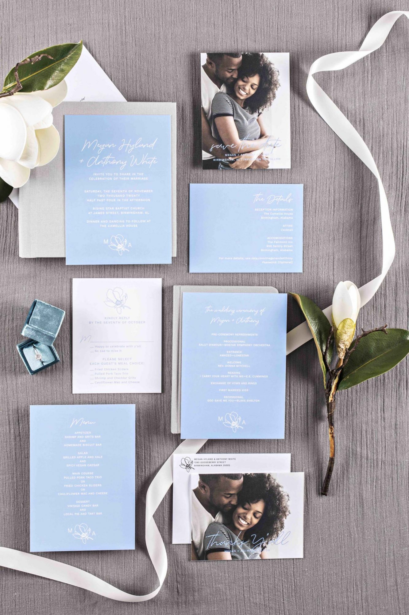 Reese Witherspoon's Draper James Launches Wedding Line with Zola — See the Brand New Collab! invites_draper_james_flatlay_07