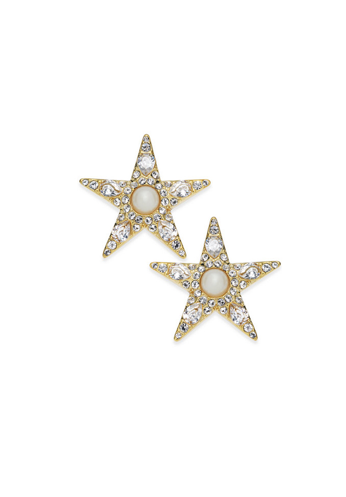 Kate Spade New York 14k Gold-Plated Imitation Pearl and Pavé Star Stud Earrings