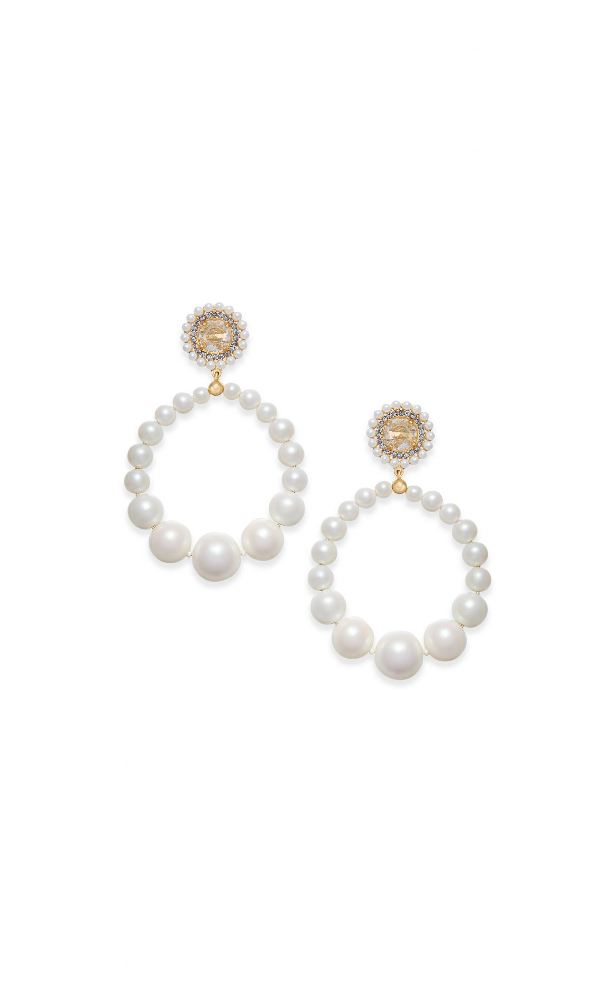 Kate Spade New York Gold-Tone Imitation Pearl Drop Hoop Earrings