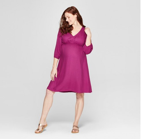 Maternity Fit & Flare Dress in Berry Sprinkle
