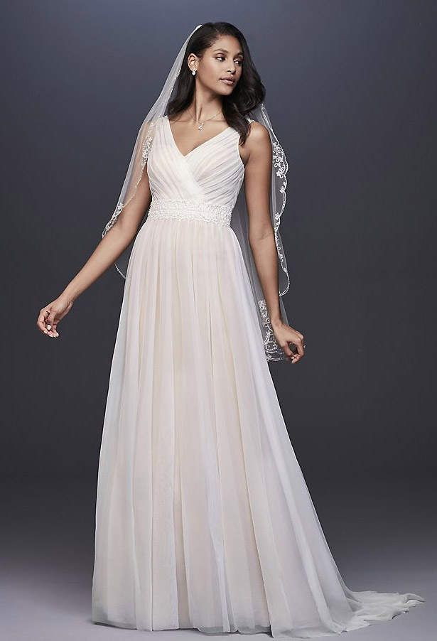 Pleated Tulle Tank Wedding Dress with Lace Waist
