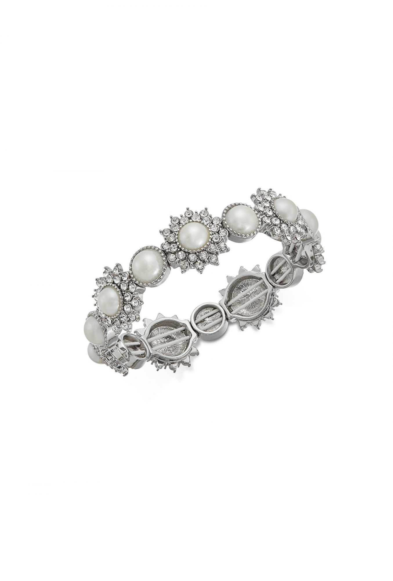 Charter Club Silver-Tone Crystal & Imitation Pearl Stretch Bracelet
