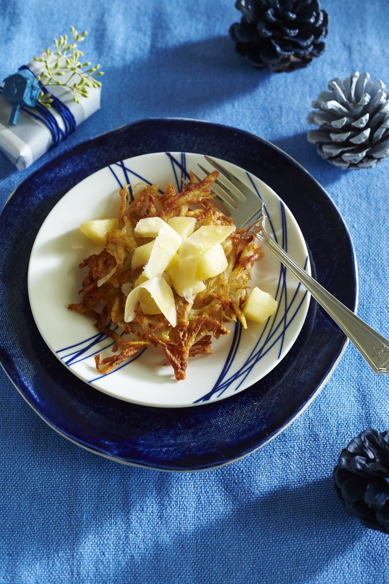 Potato Latkes with Warm Apple Compote and Aged Cheddar Topping