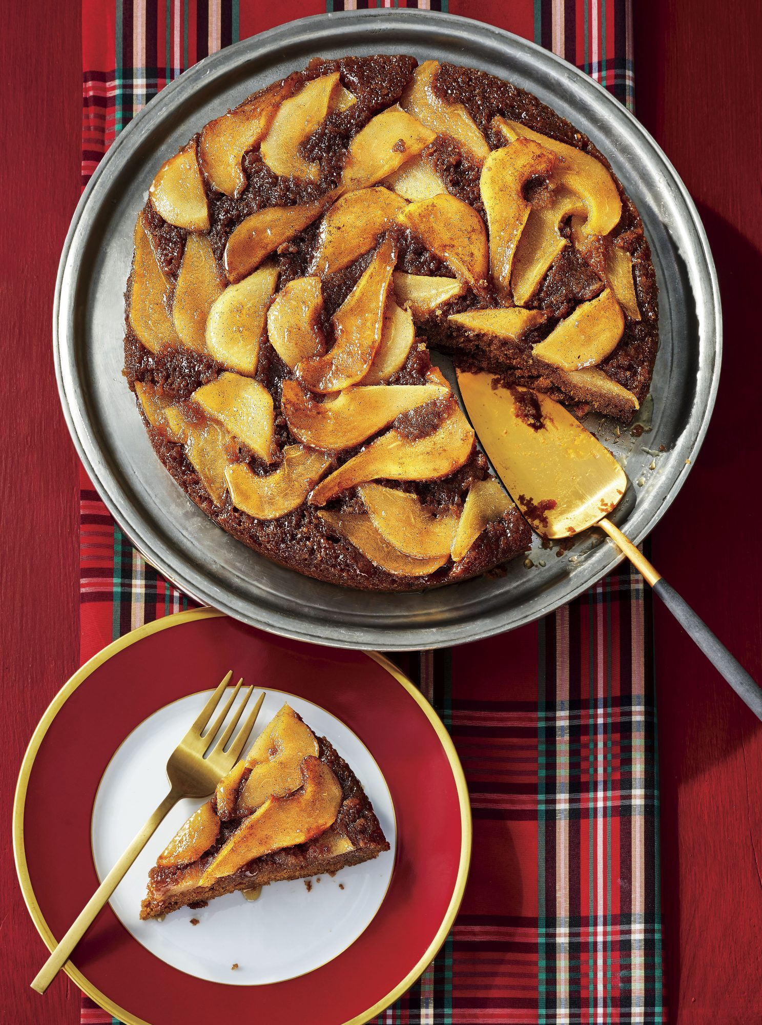 Upside Down Pear-and-Gingerbread Cake Recipe