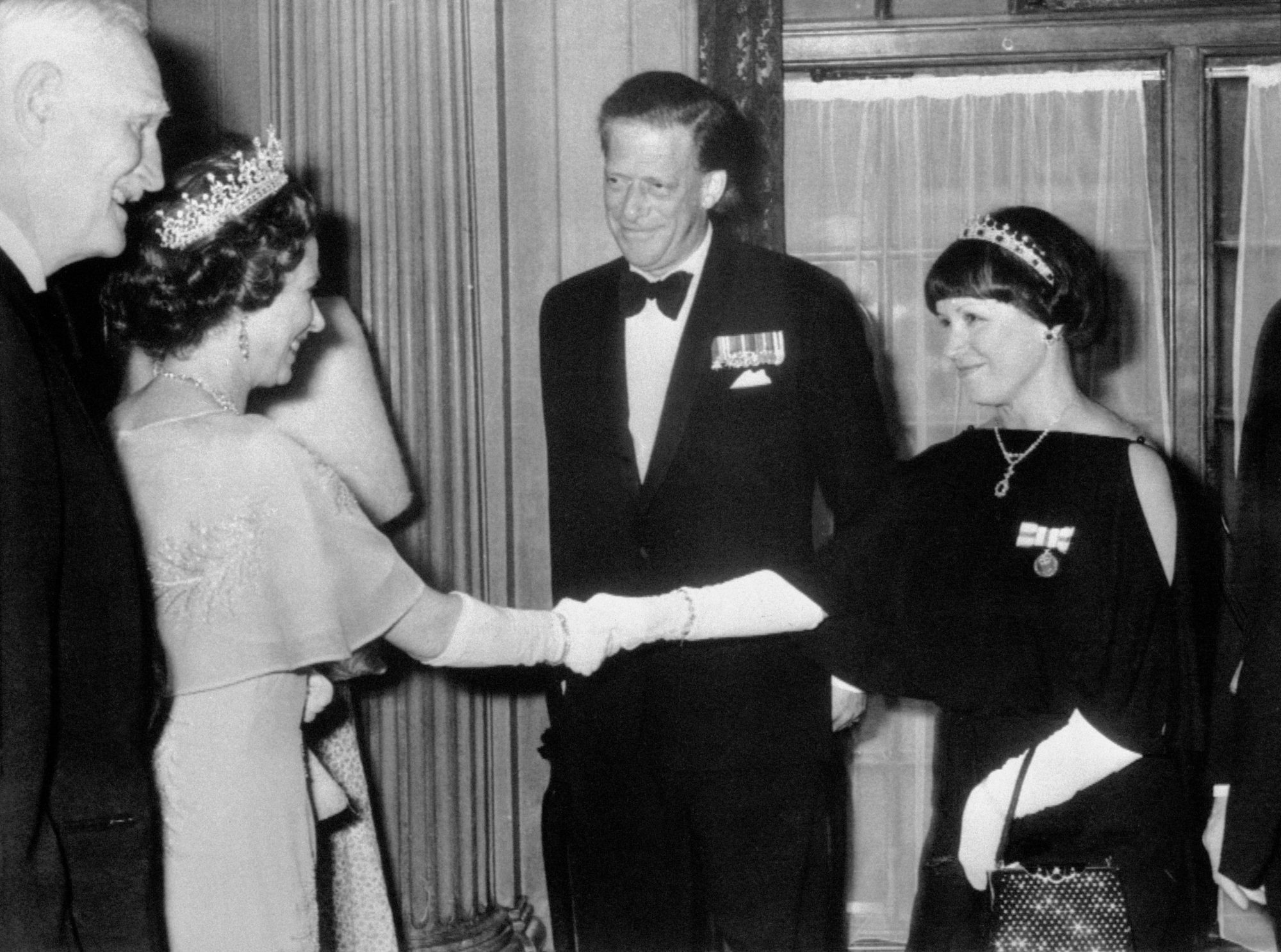 Queen Elizabeth II meets her cousin The Earl of Harewood and the Countess of Harewood