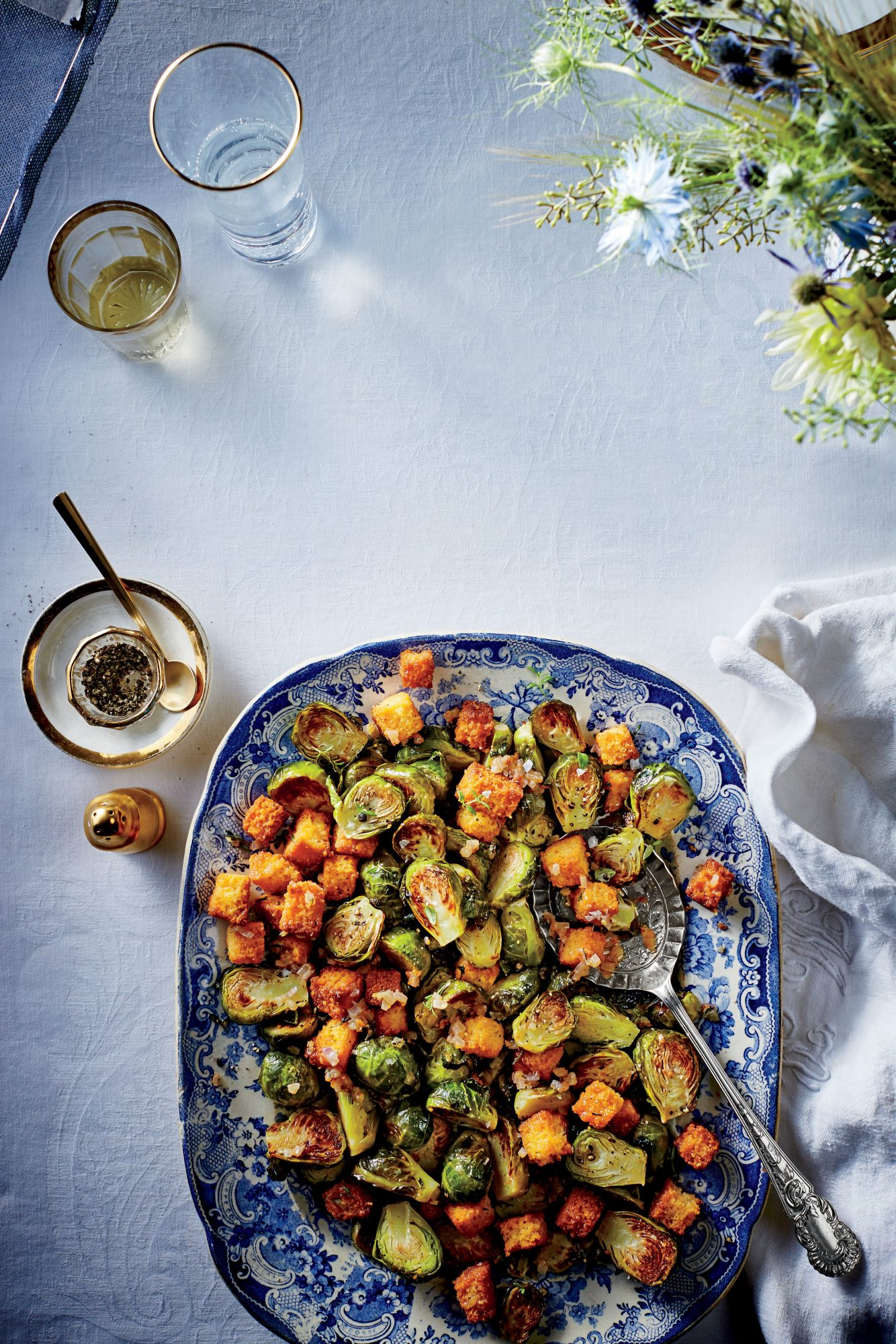 Brussels Sprouts with Cornbread Croutons