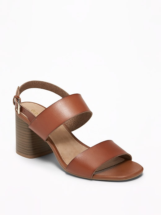 Faux-Leather Slingback Block-Heel Sandals