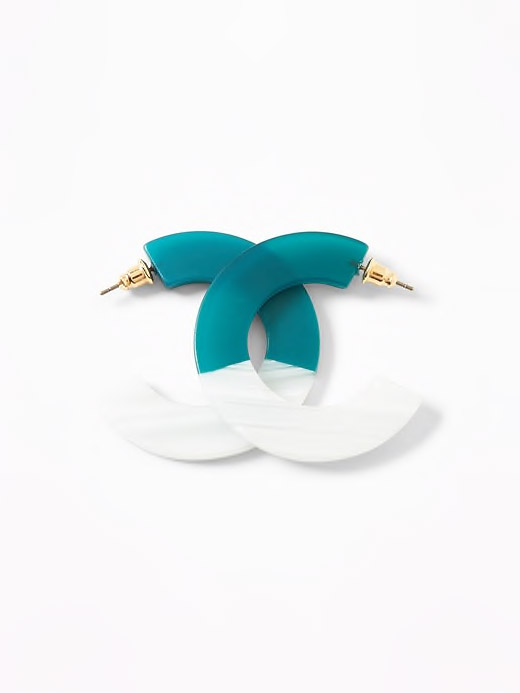 Two-Tone Open-Hoop Earrings